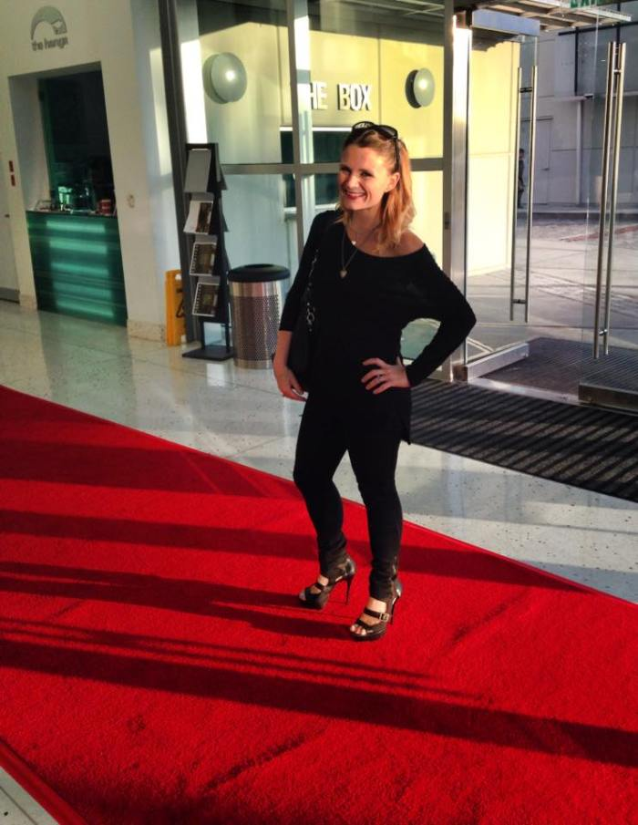 "Walking the red carpet at the premiere of my short film, ""Haggling."""
