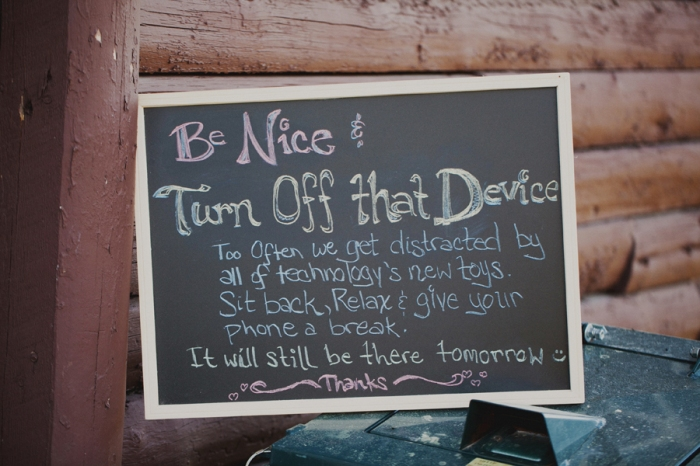Cute sign & practical! Love it! Image Source: http://septembersbride.com/wp-content/uploads/2013/05/unplugged-weddings-on-black-bridal-bliss-2.jpg