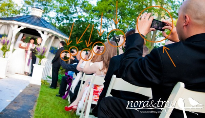 "Like wild boar roaming the Serengeti, we've managed to catch some ""wedding paparazzi"" in the act. Image Source: http://fstoppers.com/unplugged-weddings-preventing-guests-from-destroying-your-photographs"