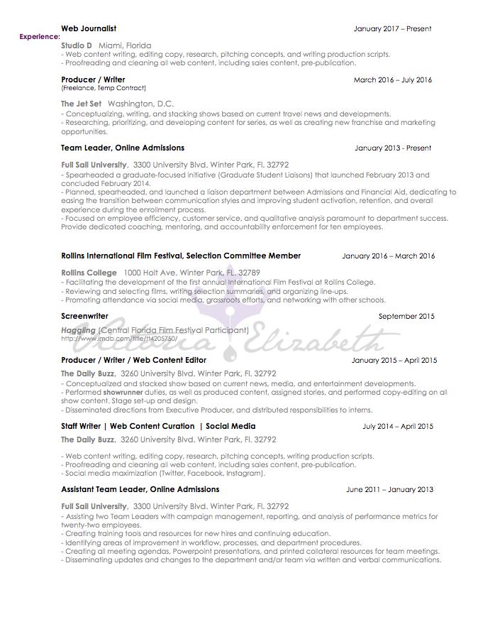 Resume | Victoria Elizabeth